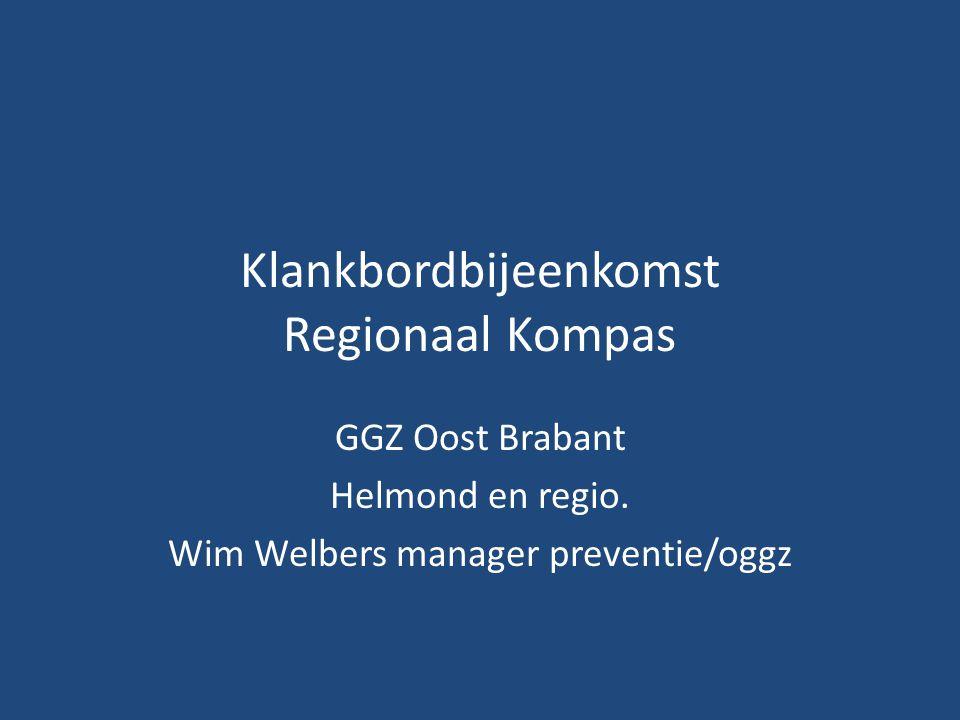 Klankbordbijeenkomst Regionaal Kompas GGZ Oost Brabant Helmond en regio. Wim Welbers manager preventie/oggz