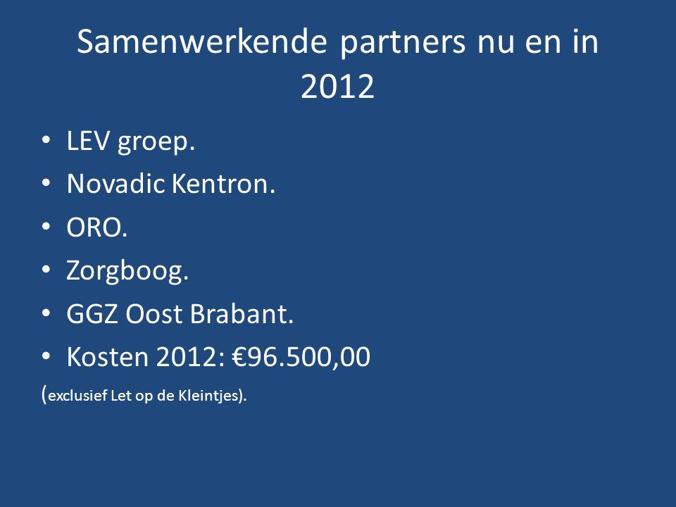 Samenwerkende partners nu en in 2012 • LEV groep. • Novadic Kentron. • ORO. • Zorgboog. • GGZ Oost Brabant. • Kosten 2012: €96.500,00 ( exclusief Let
