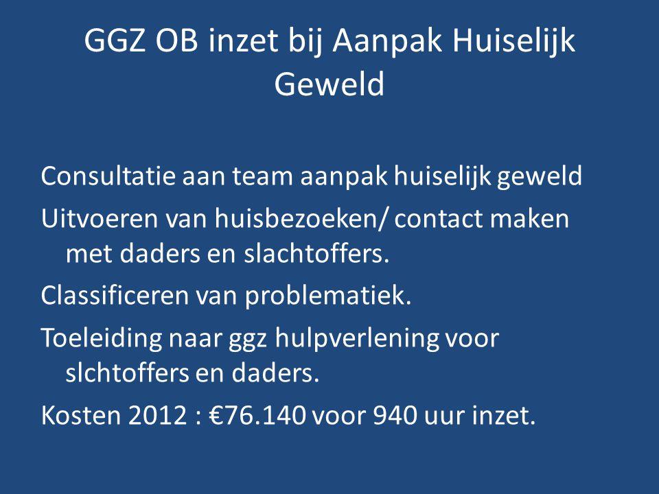 GGZ OB inzet bij Aanpak Huiselijk Geweld Consultatie aan team aanpak huiselijk geweld Uitvoeren van huisbezoeken/ contact maken met daders en slachtof