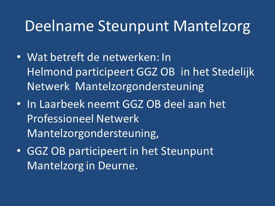 Deelname Steunpunt Mantelzorg • Wat betreft de netwerken: In Helmond participeert GGZ OB in het Stedelijk Netwerk Mantelzorgondersteuning • In Laarbee