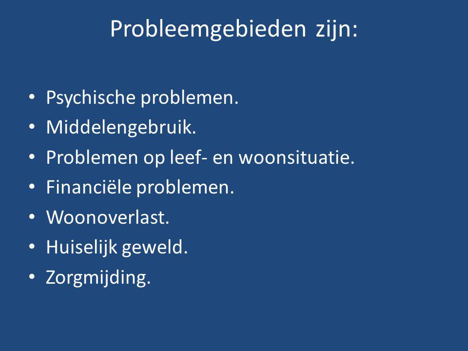 Probleemgebieden zijn: • Psychische problemen. • Middelengebruik. • Problemen op leef- en woonsituatie. • Financiële problemen. • Woonoverlast. • Huis