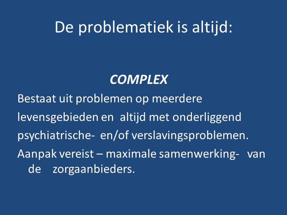 De problematiek is altijd: COMPLEX Bestaat uit problemen op meerdere levensgebieden en altijd met onderliggend psychiatrische- en/of verslavingsproble