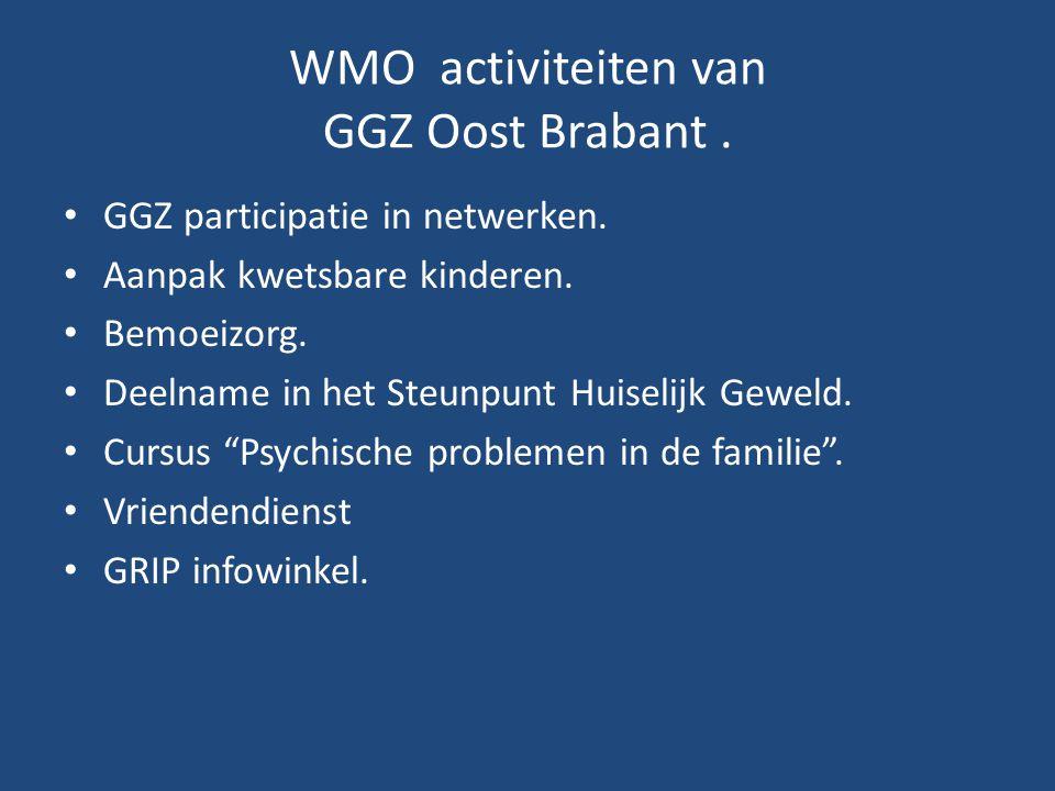 WMO activiteiten van GGZ Oost Brabant. • GGZ participatie in netwerken. • Aanpak kwetsbare kinderen. • Bemoeizorg. • Deelname in het Steunpunt Huiseli