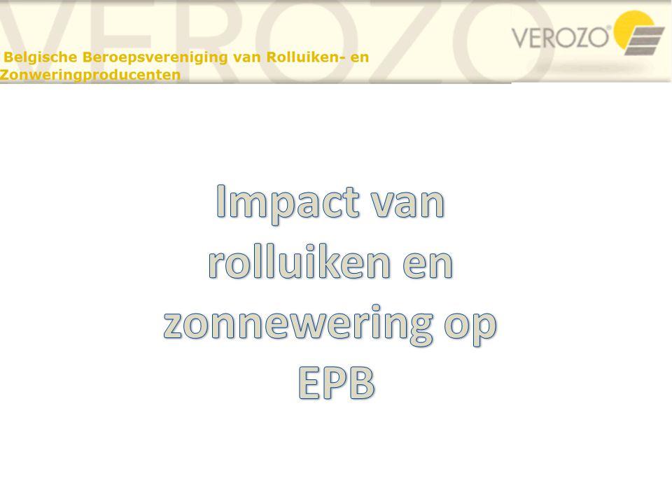Inhoud : Impact van rolluiken en zonnewering op EPB • U-waarde van vensters met gesloten luiken o Bijkomende warmteweerstand bij gesloten luiken • Hoe rolluiken invoeren in de EPB- soctware .