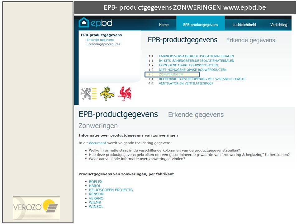 EPB- productgegevens ZONWERINGEN www.epbd.be