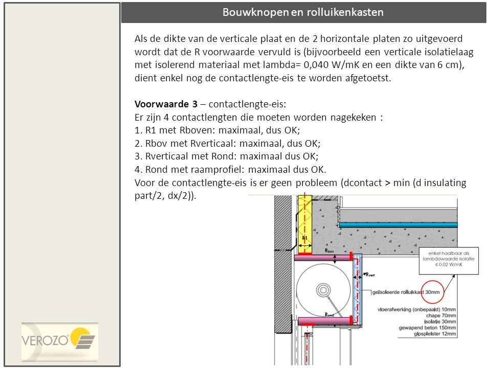 Bouwknopen en rolluikenkasten Als de dikte van de verticale plaat en de 2 horizontale platen zo uitgevoerd wordt dat de R voorwaarde vervuld is (bijvo