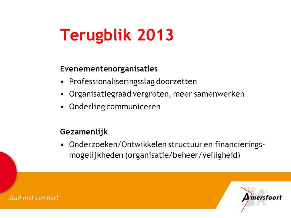 Terugblik 2013 Evenementenorganisaties •Professionaliseringsslag doorzetten •Organisatiegraad vergroten, meer samenwerken •Onderling communiceren Geza