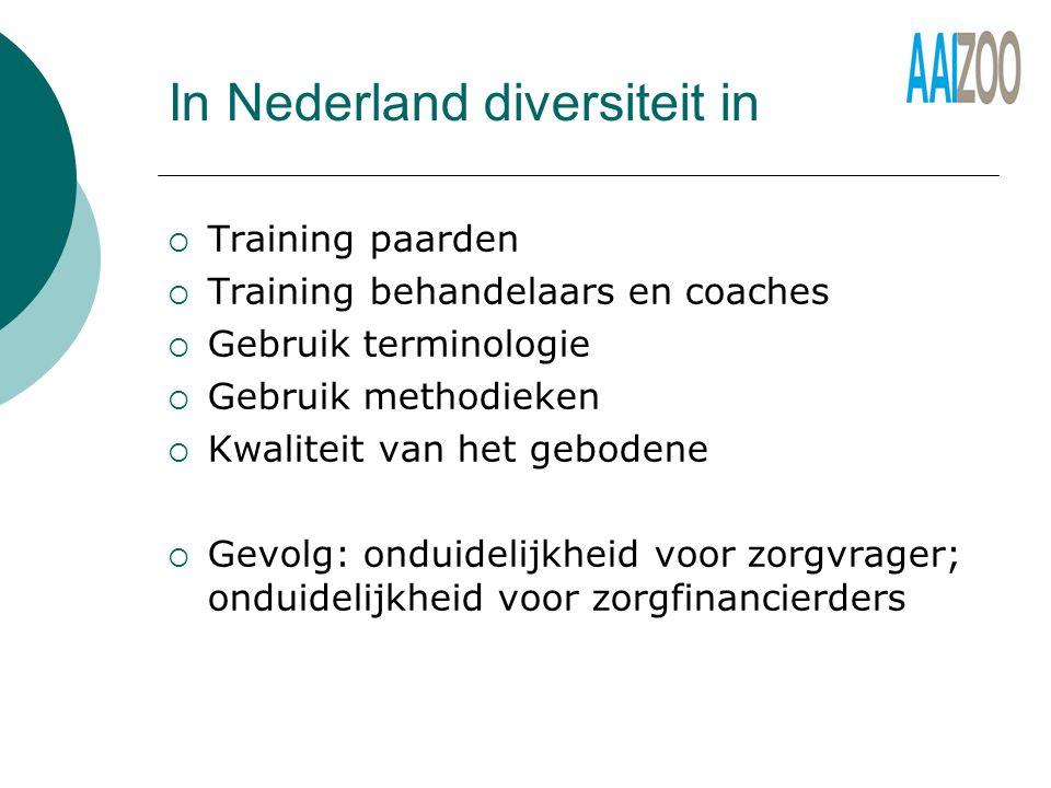 In Nederland diversiteit in  Training paarden  Training behandelaars en coaches  Gebruik terminologie  Gebruik methodieken  Kwaliteit van het gebodene  Gevolg: onduidelijkheid voor zorgvrager; onduidelijkheid voor zorgfinancierders