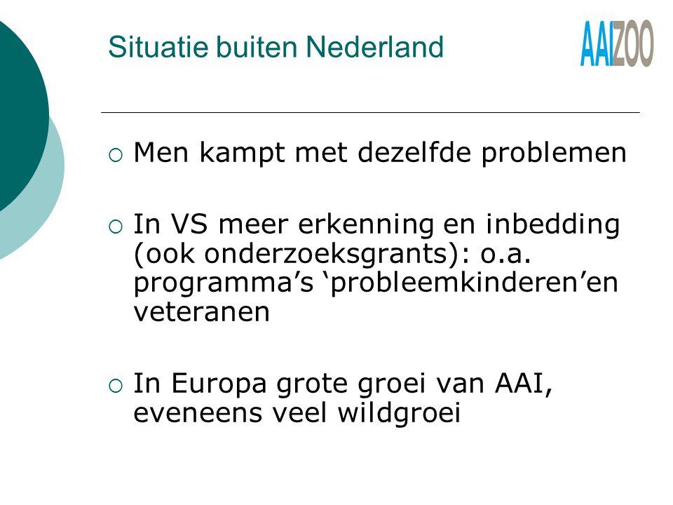 Situatie buiten Nederland  Men kampt met dezelfde problemen  In VS meer erkenning en inbedding (ook onderzoeksgrants): o.a.