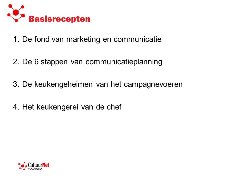 Basisrecepten 1.De fond van marketing en communicatie 2.De 6 stappen van communicatieplanning 3.De keukengeheimen van het campagnevoeren 4.Het keukeng