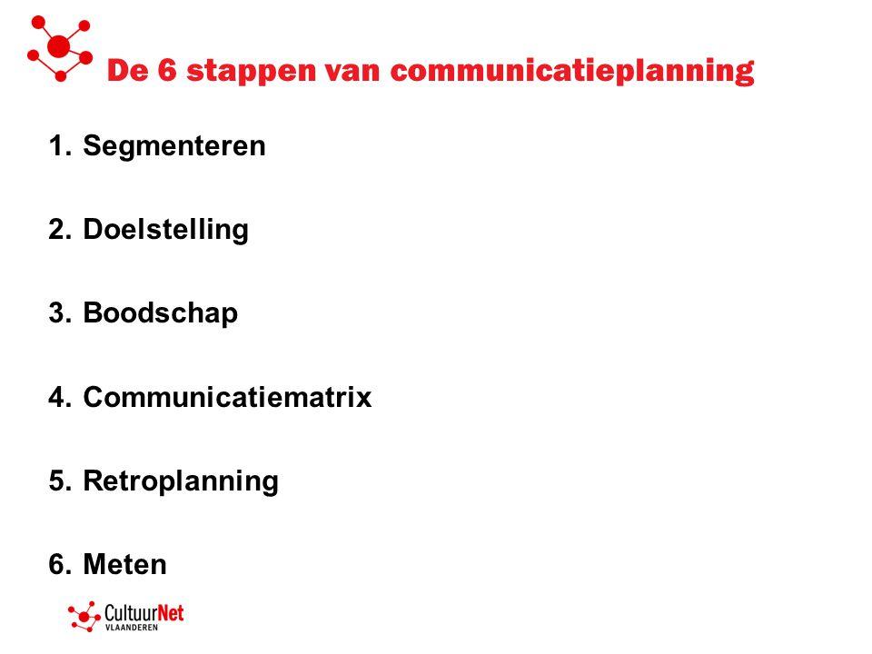 De 6 stappen van communicatieplanning 1.Segmenteren 2.Doelstelling 3.Boodschap 4.Communicatiematrix 5.Retroplanning 6.Meten