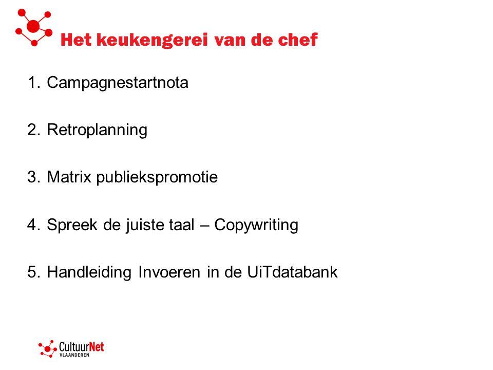 Het keukengerei van de chef 1.Campagnestartnota 2.Retroplanning 3.Matrix publiekspromotie 4.Spreek de juiste taal – Copywriting 5.Handleiding Invoeren