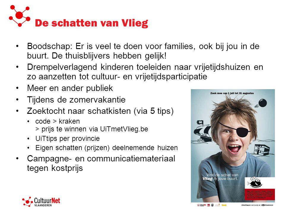 De schatten van Vlieg •Boodschap: Er is veel te doen voor families, ook bij jou in de buurt. De thuisblijvers hebben gelijk! •Drempelverlagend kindere