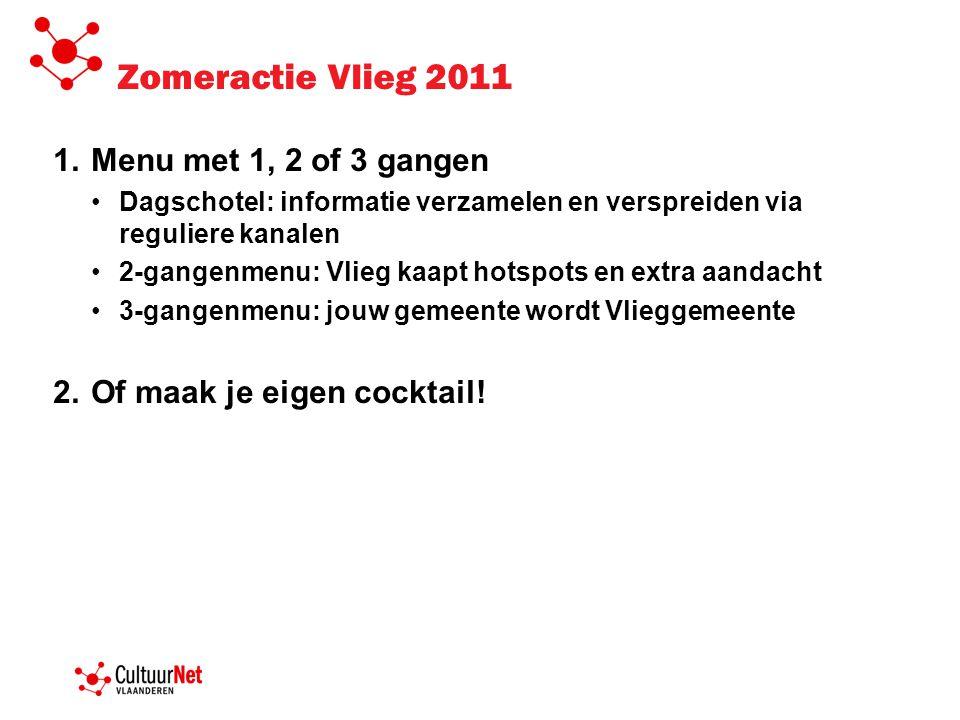 Zomeractie Vlieg 2011 1.Menu met 1, 2 of 3 gangen •Dagschotel: informatie verzamelen en verspreiden via reguliere kanalen •2-gangenmenu: Vlieg kaapt h
