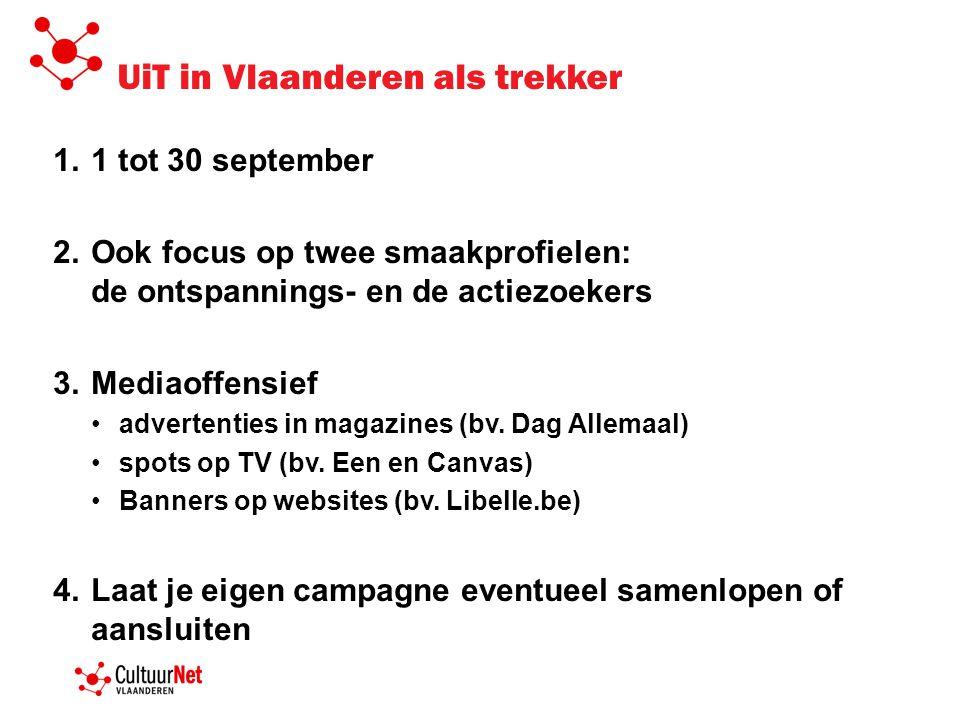 UiT in Vlaanderen als trekker 1.1 tot 30 september 2.Ook focus op twee smaakprofielen: de ontspannings- en de actiezoekers 3.Mediaoffensief •advertent