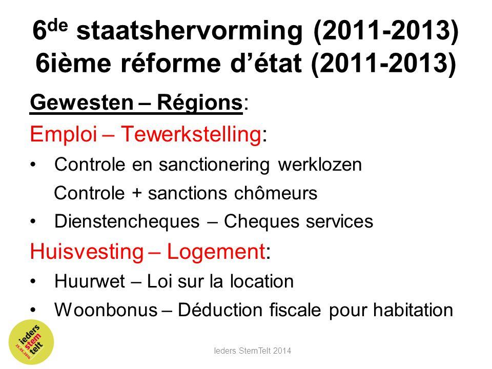 6 de staatshervorming (2011-2013) 6ième réforme d'état (2011-2013) Gewesten – Régions: Emploi – Tewerkstelling: •Controle en sanctionering werklozen C