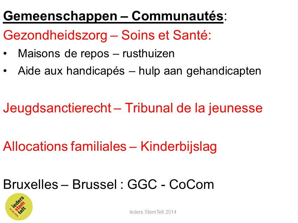 Gemeenschappen – Communautés: Gezondheidszorg – Soins et Santé: •Maisons de repos – rusthuizen •Aide aux handicapés – hulp aan gehandicapten Jeugdsanc