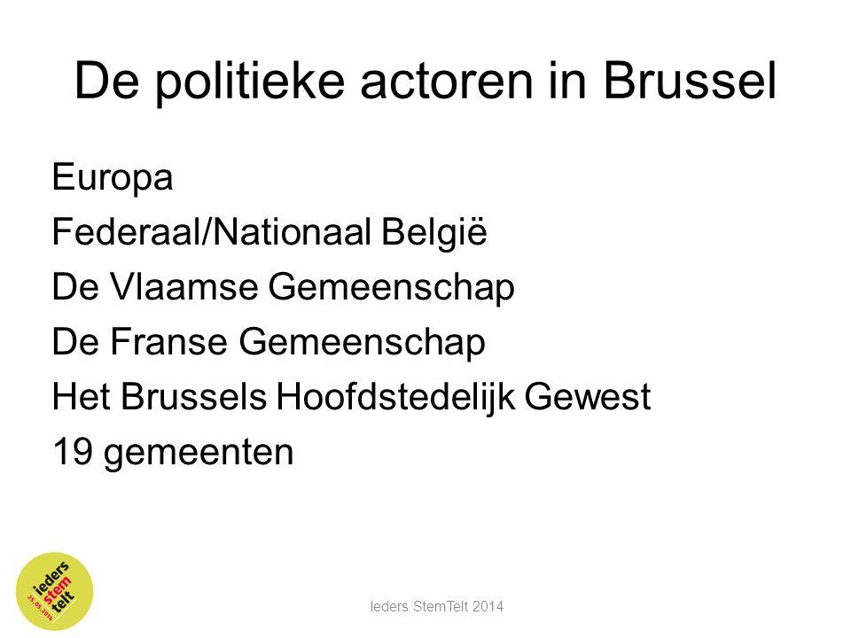 De politieke actoren in Brussel Europa Federaal/Nationaal België De Vlaamse Gemeenschap De Franse Gemeenschap Het Brussels Hoofdstedelijk Gewest 19 ge