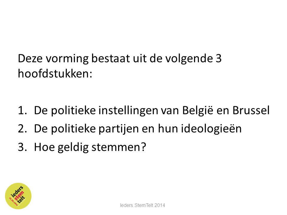 Deze vorming bestaat uit de volgende 3 hoofdstukken: 1.De politieke instellingen van België en Brussel 2.De politieke partijen en hun ideologieën 3.Ho