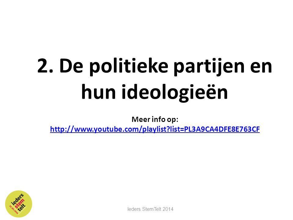 2. De politieke partijen en hun ideologieën Meer info op: http://www.youtube.com/playlist?list=PL3A9CA4DFE8E763CF http://www.youtube.com/playlist?list