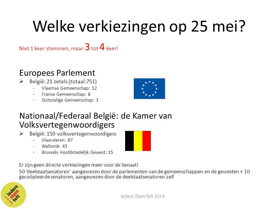 Welke verkiezingen op 25 mei? Niet 1 keer stemmen, maar 3 tot 4 keer! Europees Parlement  België: 21 zetels (totaal:751) -Vlaamse Gemeenschap: 12 -Fr