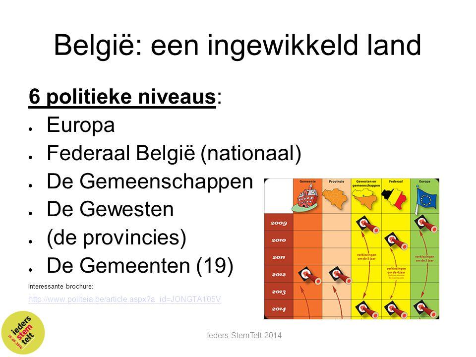 België: een ingewikkeld land 6 politieke niveaus:  Europa  Federaal België (nationaal)  De Gemeenschappen  De Gewesten  (de provincies)  De Geme