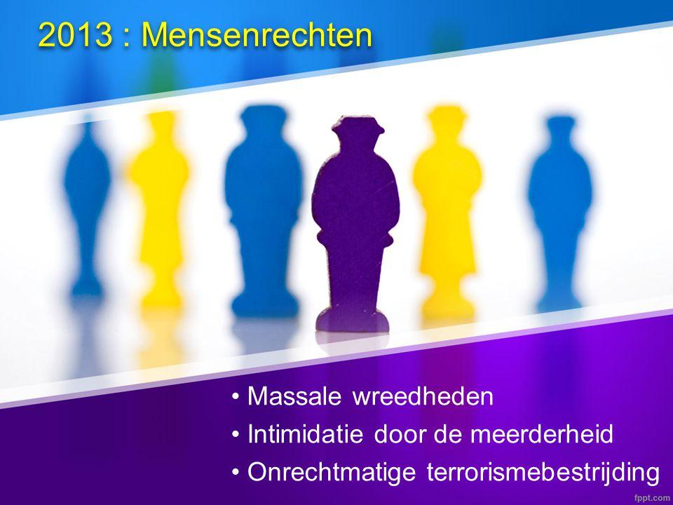 2013 : Mensenrechten • Massale wreedheden • Intimidatie door de meerderheid • Onrechtmatige terrorismebestrijding