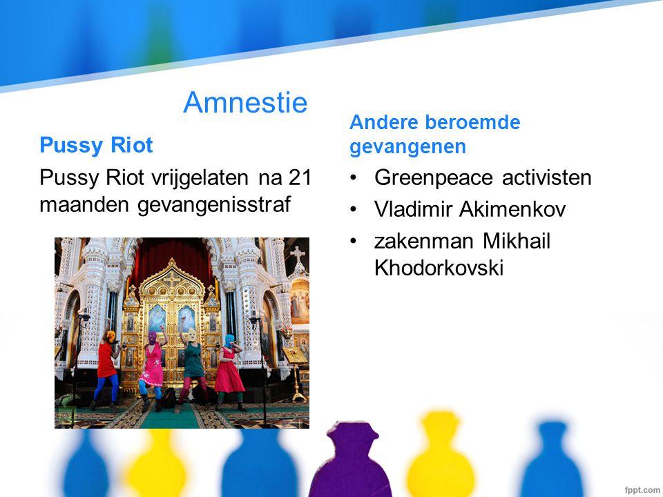 Amnestie Pussy Riot Pussy Riot vrijgelaten na 21 maanden gevangenisstraf Andere beroemde gevangenen •Greenpeace activisten •Vladimir Akimenkov •zakenm