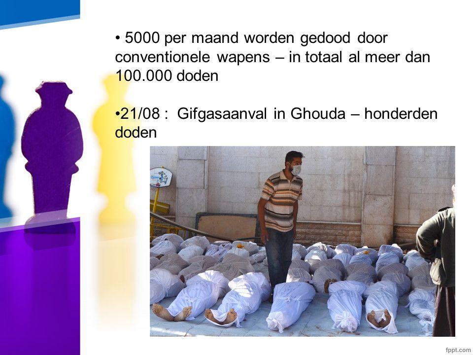 • 5000 per maand worden gedood door conventionele wapens – in totaal al meer dan 100.000 doden •21/08 : Gifgasaanval in Ghouda – honderden doden