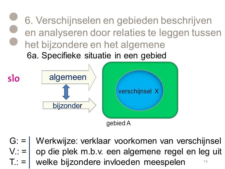 6. Verschijnselen en gebieden beschrijven en analyseren door relaties te leggen tussen het bijzondere en het algemene 14 algemeen bijzonder gebied A v