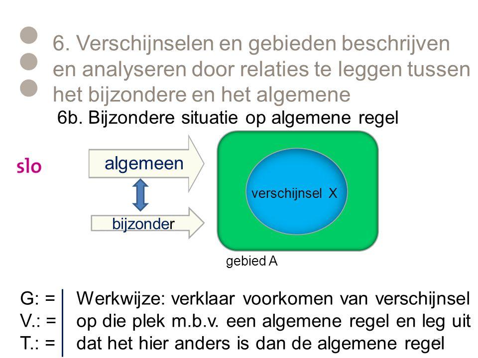 6. Verschijnselen en gebieden beschrijven en analyseren door relaties te leggen tussen het bijzondere en het algemene 15 algemeen bijzonder gebied A v