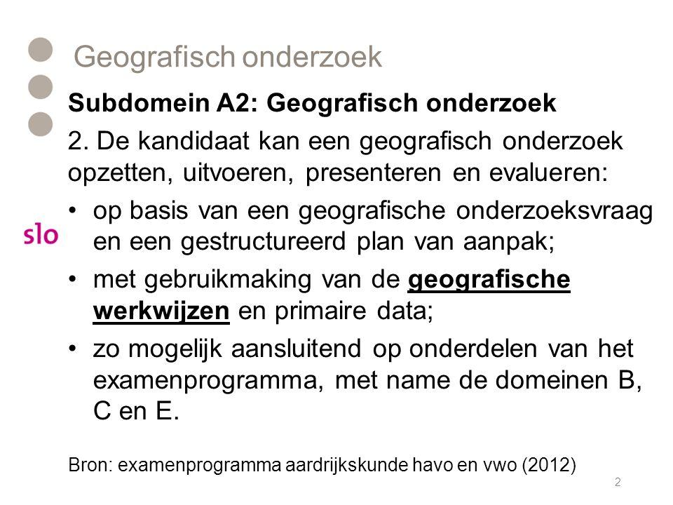 Geografisch onderzoek Subdomein A2: Geografisch onderzoek 2. De kandidaat kan een geografisch onderzoek opzetten, uitvoeren, presenteren en evalueren: