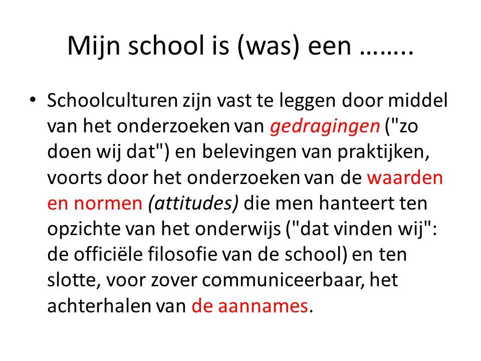 • Schoolculturen zijn vast te leggen door middel van het onderzoeken van gedragingen (