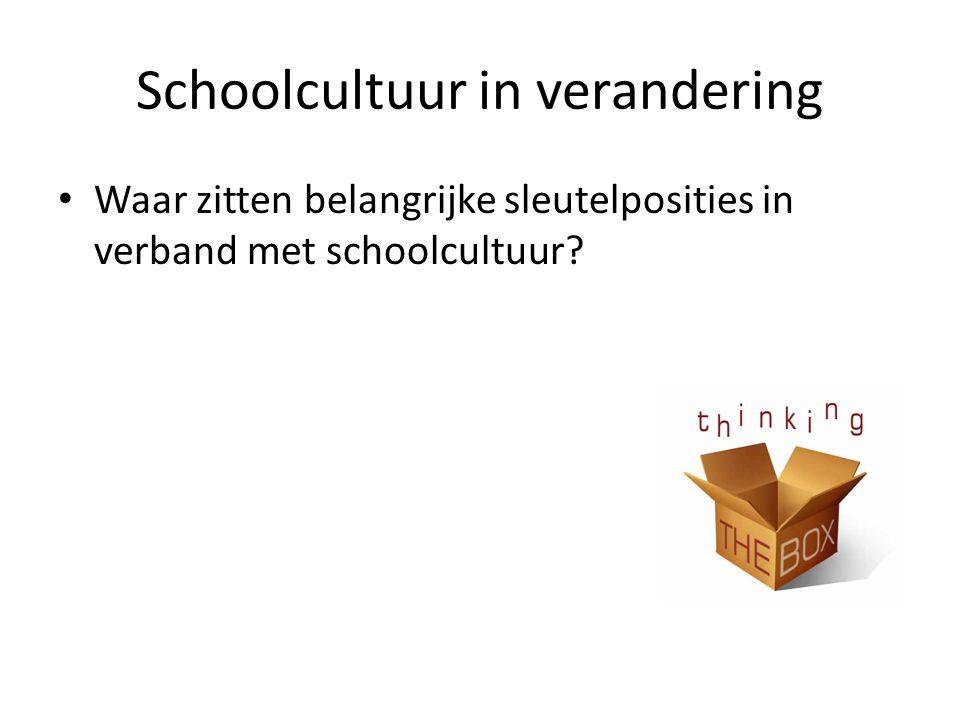 Schoolcultuur in verandering • Waar zitten belangrijke sleutelposities in verband met schoolcultuur?
