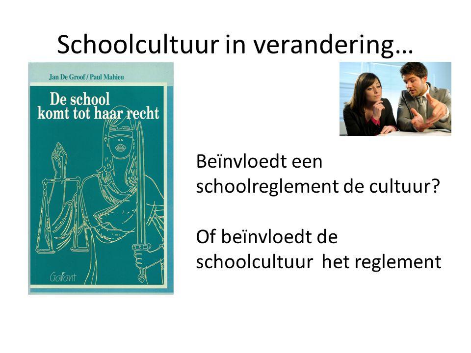 Schoolcultuur in verandering… Beïnvloedt een schoolreglement de cultuur? Of beïnvloedt de schoolcultuur het reglement