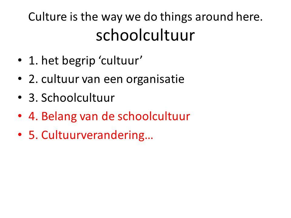 • 1. het begrip 'cultuur' • 2. cultuur van een organisatie • 3. Schoolcultuur • 4. Belang van de schoolcultuur • 5. Cultuurverandering… Culture is the