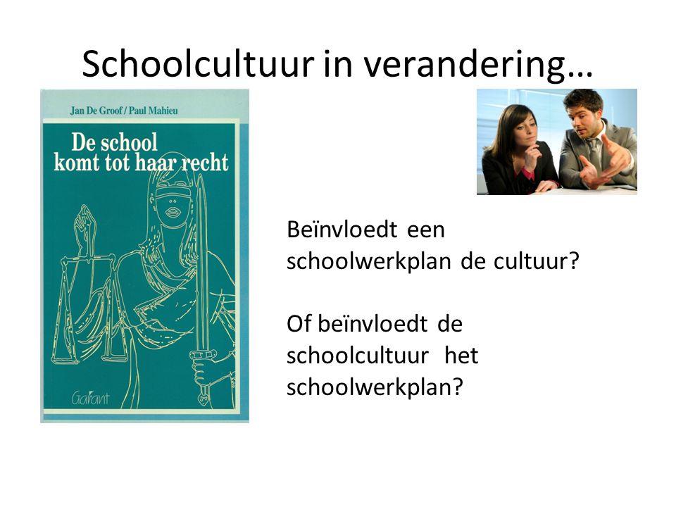 Schoolcultuur in verandering… Beïnvloedt een schoolwerkplan de cultuur? Of beïnvloedt de schoolcultuur het schoolwerkplan?
