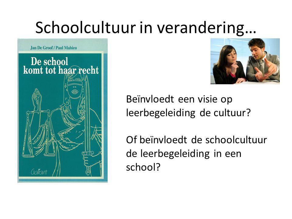 Schoolcultuur in verandering… Beïnvloedt een visie op leerbegeleiding de cultuur? Of beïnvloedt de schoolcultuur de leerbegeleiding in een school?