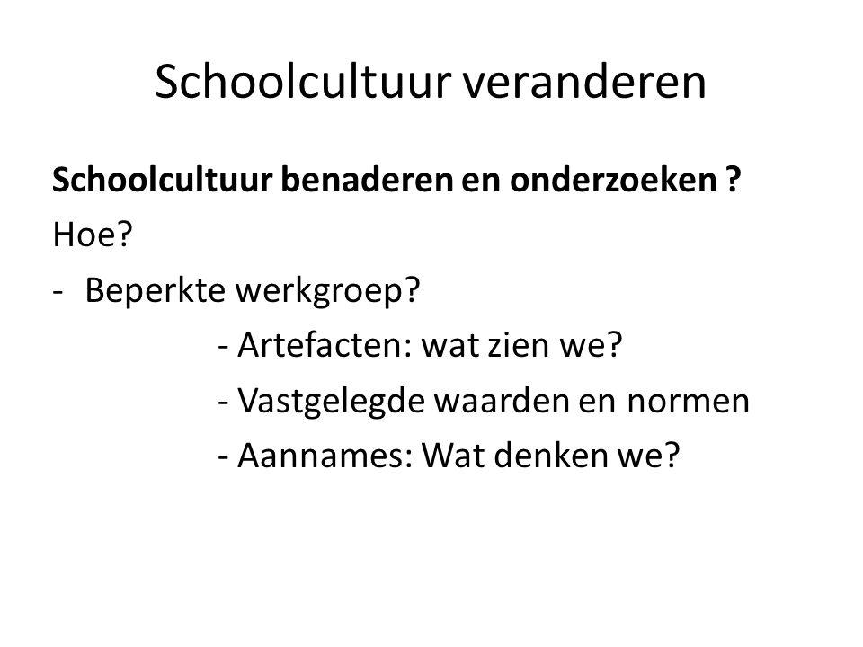 Schoolcultuur veranderen Schoolcultuur benaderen en onderzoeken ? Hoe? -Beperkte werkgroep? - Artefacten: wat zien we? - Vastgelegde waarden en normen