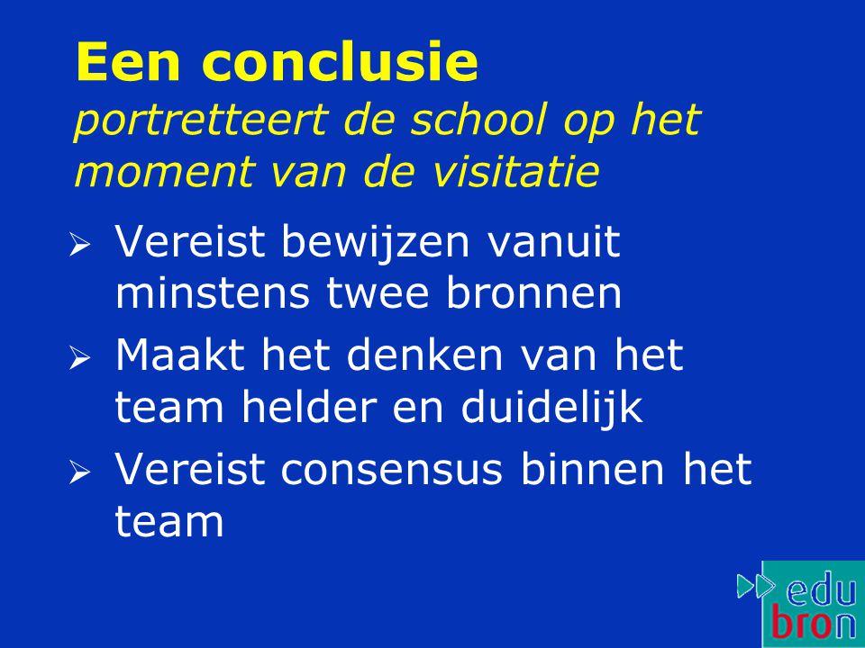 Een conclusie portretteert de school op het moment van de visitatie  Vereist bewijzen vanuit minstens twee bronnen  Maakt het denken van het team he