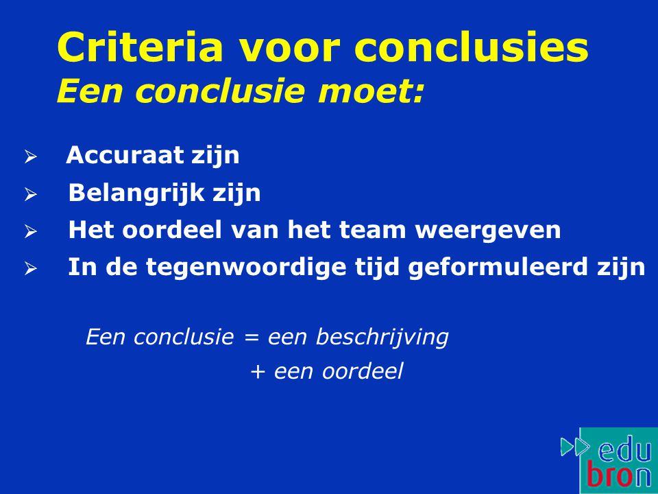 Criteria voor conclusies Een conclusie moet:  Accuraat zijn  Belangrijk zijn  Het oordeel van het team weergeven  In de tegenwoordige tijd geformu