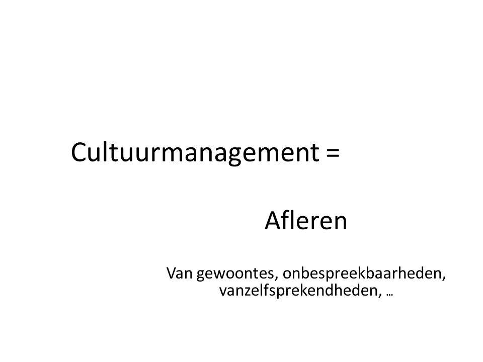 Cultuurmanagement = Afleren Van gewoontes, onbespreekbaarheden, vanzelfsprekendheden, …