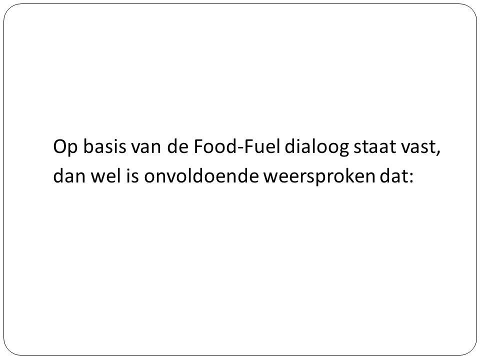 Op basis van de Food-Fuel dialoog staat vast, dan wel is onvoldoende weersproken dat: