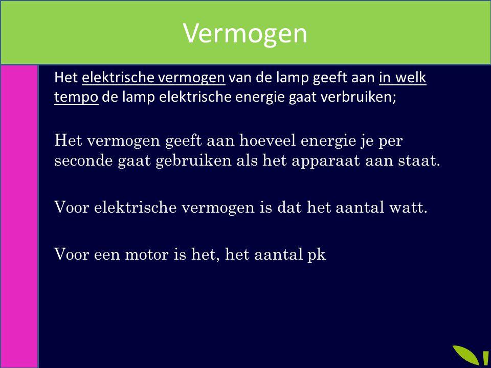Vermogen Het elektrische vermogen van de lamp geeft aan in welk tempo de lamp elektrische energie gaat verbruiken; Het vermogen geeft aan hoeveel energie je per seconde gaat gebruiken als het apparaat aan staat.