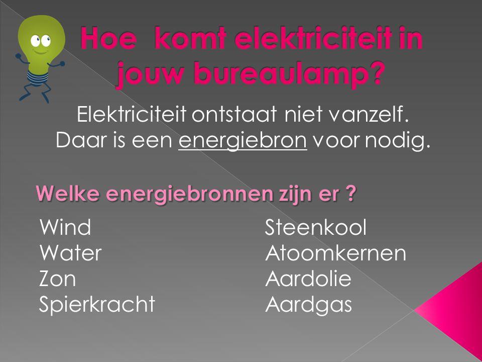 Elektriciteit ontstaat niet vanzelf.Daar is een energiebron voor nodig.
