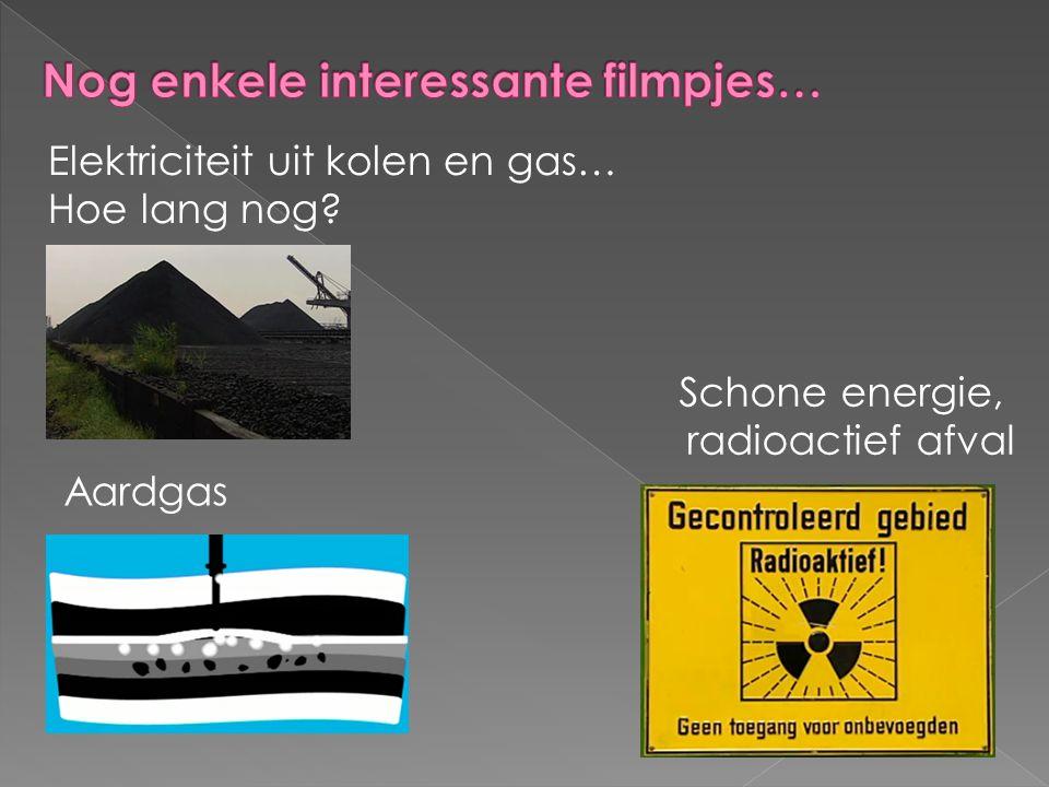 Elektriciteit uit kolen en gas… Hoe lang nog? Schone energie, radioactief afval Aardgas
