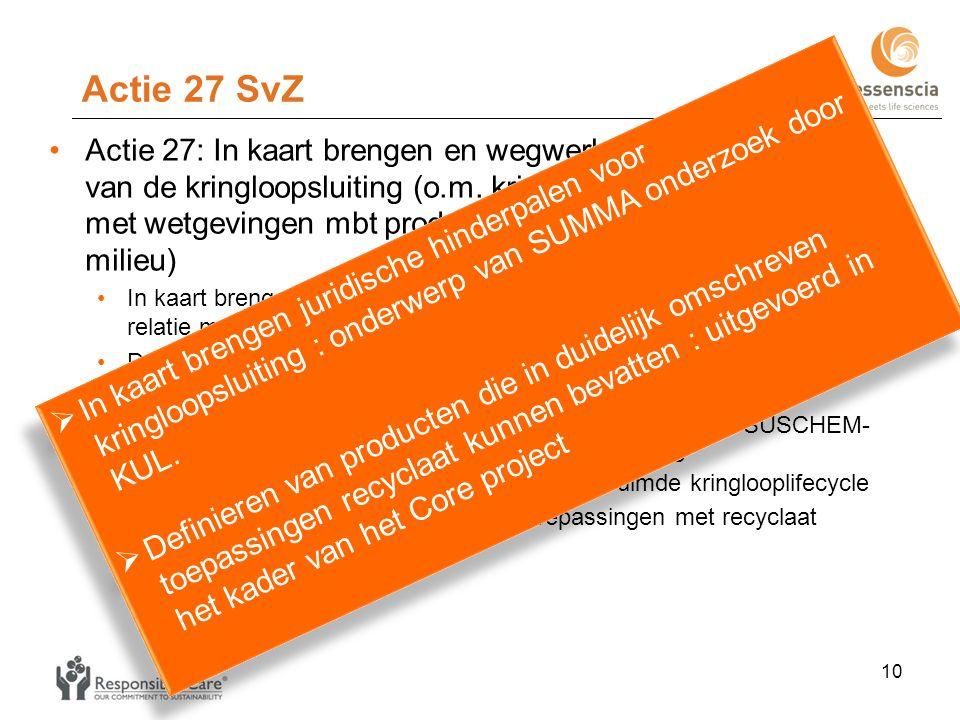 Actie 28 SvZ •Actie 28: Implementeren, verbeteren en ontwikkelen van (chemische en mechanische) technieken voor scheiding en/of zuivering van materialen na inzameling (via kringloopwinkels, containerparken) •Inventarisatie van de bestaande detectietechnieken voor het bepalen van de samenstelling van materialen •Inventarisatie van de bestaande meettechnieken voor het bepalen van de zuiverheid van materialen •Onderzoek naar de optimalisatie van de inzameling van post-consumer polymeren • Onderzoek naar de mogelijke rol van de sociale economie •Inventarisatie scheidingstechnieken (chemisch en mechanisch) •Identificatie van de sorterings-opportuniteiten en -problemen •Ontwikkeling en uitbouw van (chemische en mechanische) recyclagetechnieken •Implementatie ter plaatse van beschikbare en beheersbare chemische en mechanische methoden (inclusief kosten-batenanalyse) •Onderzoek naar nieuwe chemische en mechanische detectie- en meetmethoden voor specifieke scheidingsproblematieken 11  Inventaris bestaande detectietechnikeek ter beschikking bij VKC.