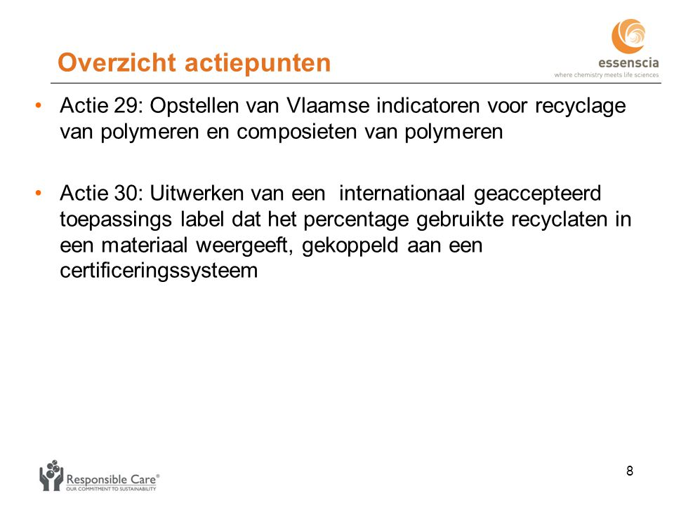 Overzicht actiepunten •Actie 29: Opstellen van Vlaamse indicatoren voor recyclage van polymeren en composieten van polymeren •Actie 30: Uitwerken van