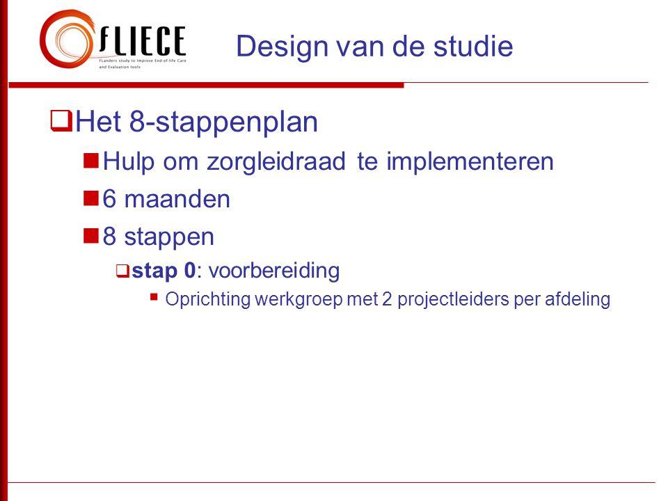  Het 8-stappenplan  Hulp om zorgleidraad te implementeren  6 maanden  8 stappen  stap 0: voorbereiding  Oprichting werkgroep met 2 projectleider