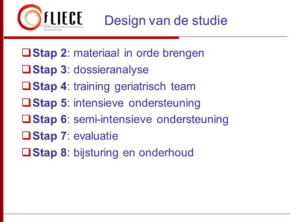  Stap 2: materiaal in orde brengen  Stap 3: dossieranalyse  Stap 4: training geriatrisch team  Stap 5: intensieve ondersteuning  Stap 6: semi-int